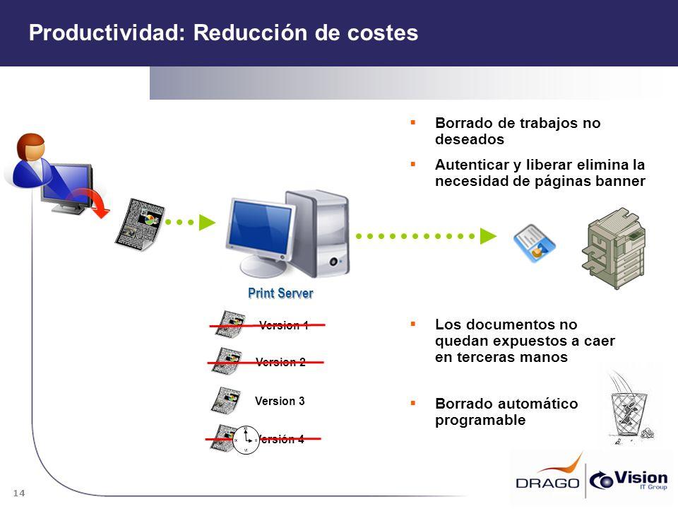 14 Print Server Borrado de trabajos no deseados Version 1Version 2Version 3Versión 4 Autenticar y liberar elimina la necesidad de páginas banner XII I