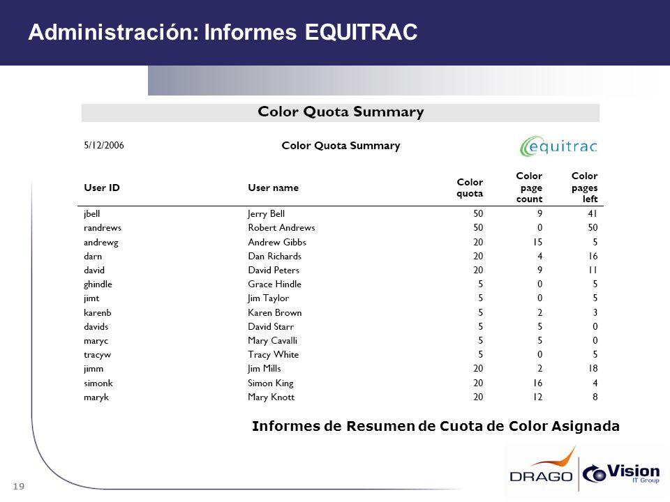 19 Informes de Resumen de Cuota de Color Asignada Administración: Informes EQUITRAC