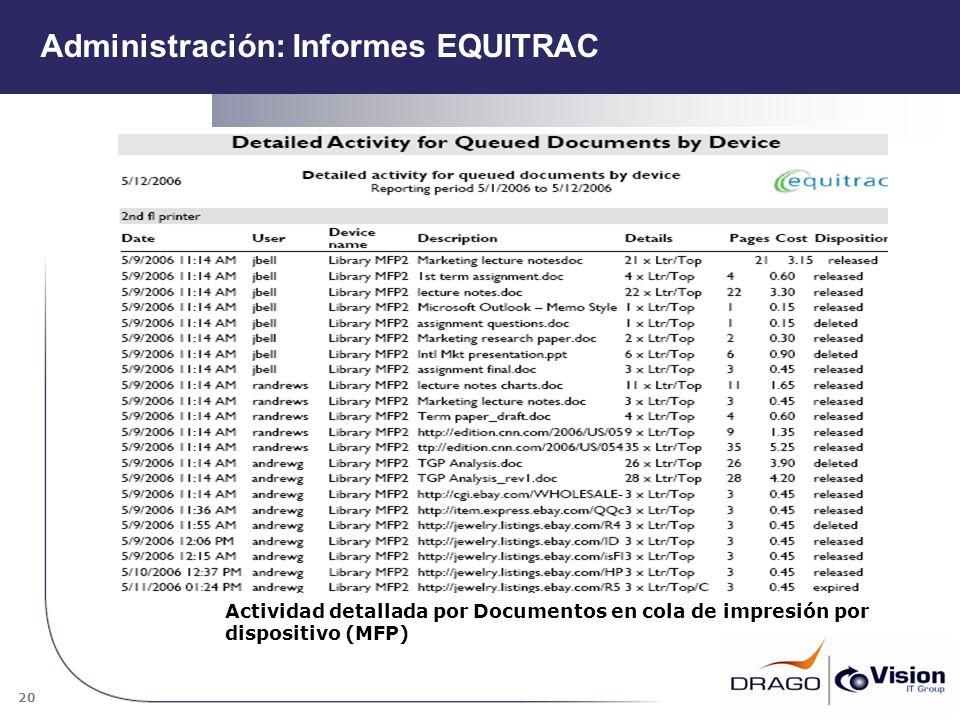 20 Actividad detallada por Documentos en cola de impresión por dispositivo (MFP) Administración: Informes EQUITRAC