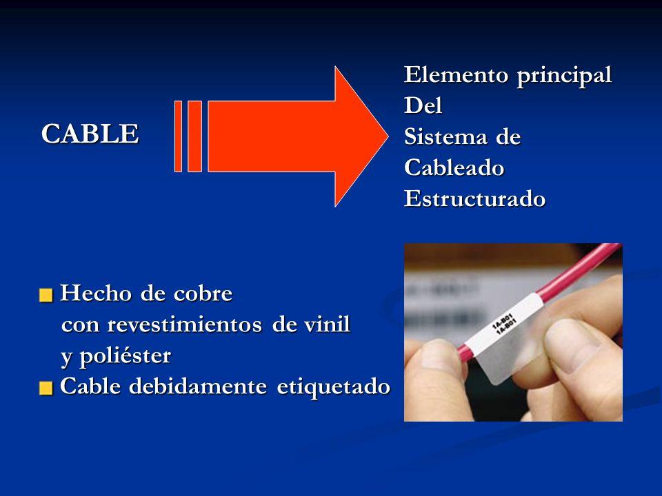 CABLE Elemento principal Del Sistema de Cableado Estructurado Hecho de cobre Hecho de cobre con revestimientos de vinil con revestimientos de vinil y