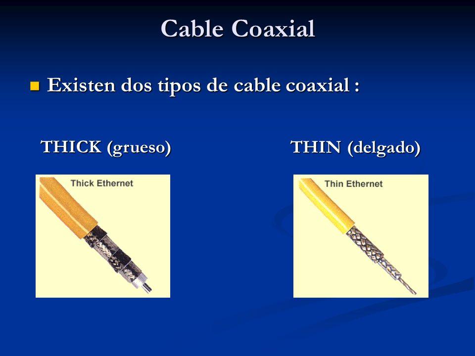 Existen dos tipos de cable coaxial : Existen dos tipos de cable coaxial : THICK (grueso) THIN (delgado)