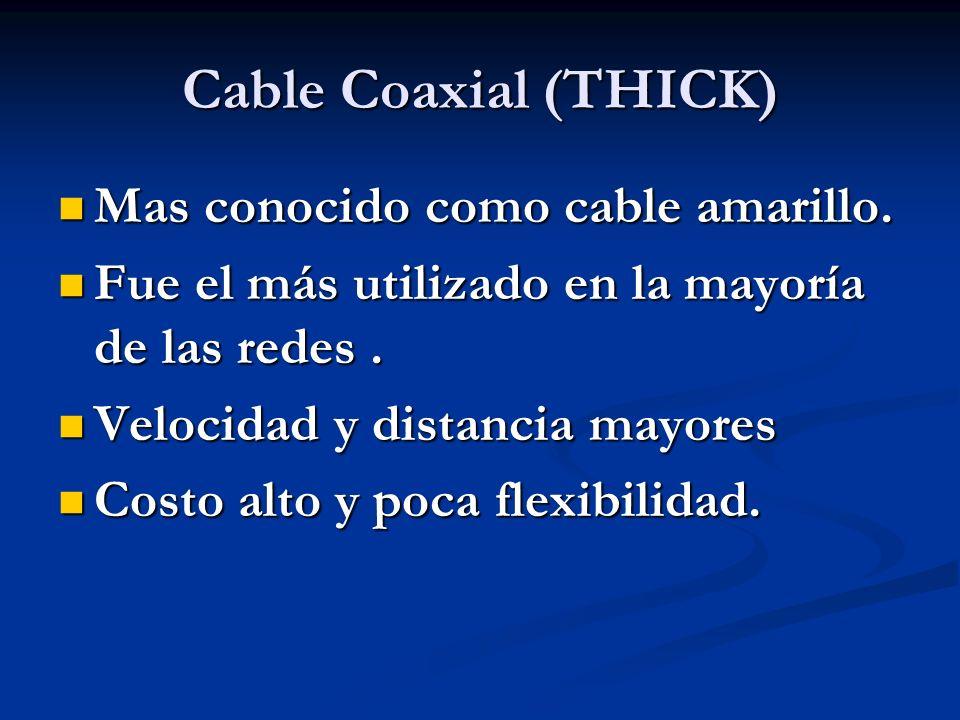 Cable Coaxial (THICK) Mas conocido como cable amarillo. Mas conocido como cable amarillo. Fue el más utilizado en la mayoría de las redes. Fue el más