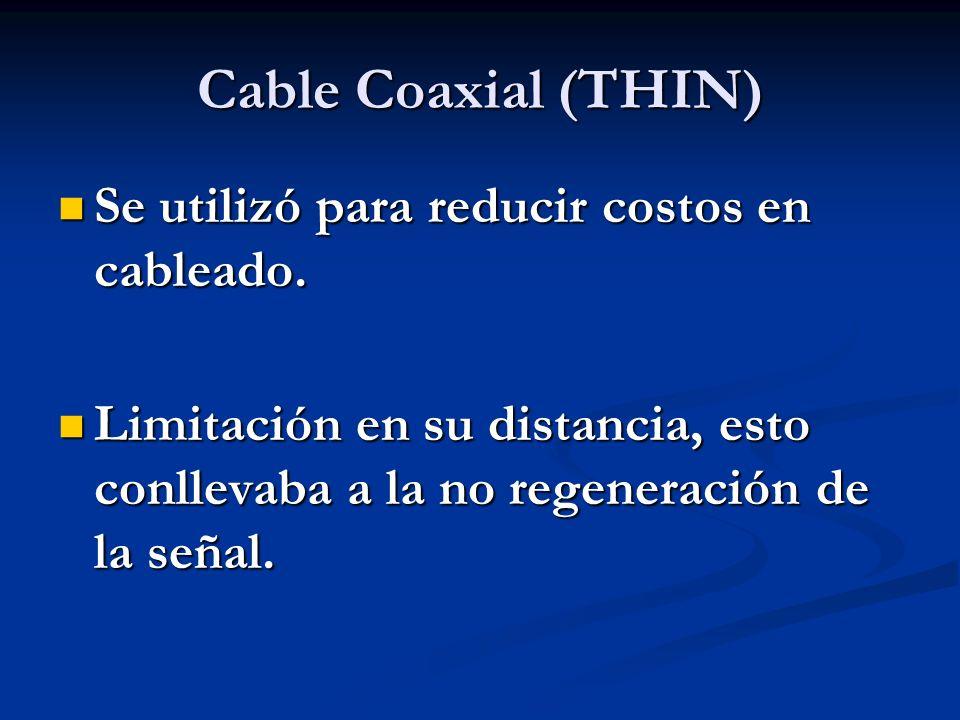 Cable Coaxial (THIN) Se utilizó para reducir costos en cableado. Se utilizó para reducir costos en cableado. Limitación en su distancia, esto conlleva