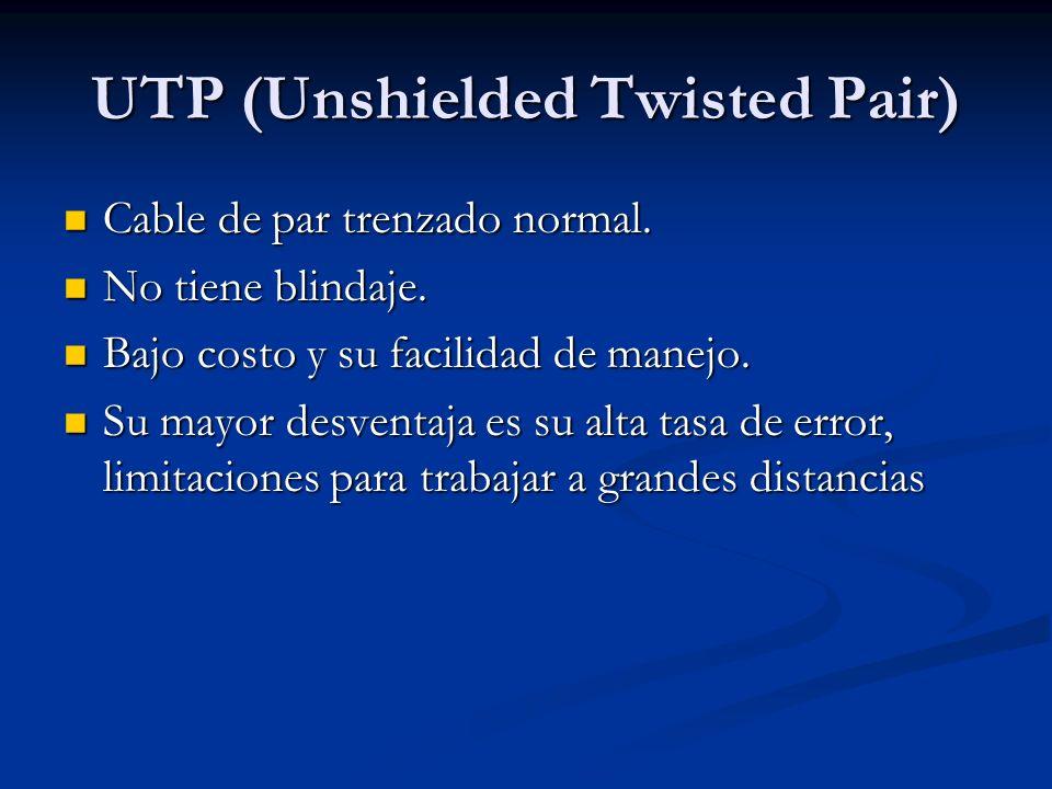 UTP (Unshielded Twisted Pair) Cable de par trenzado normal. Cable de par trenzado normal. No tiene blindaje. No tiene blindaje. Bajo costo y su facili