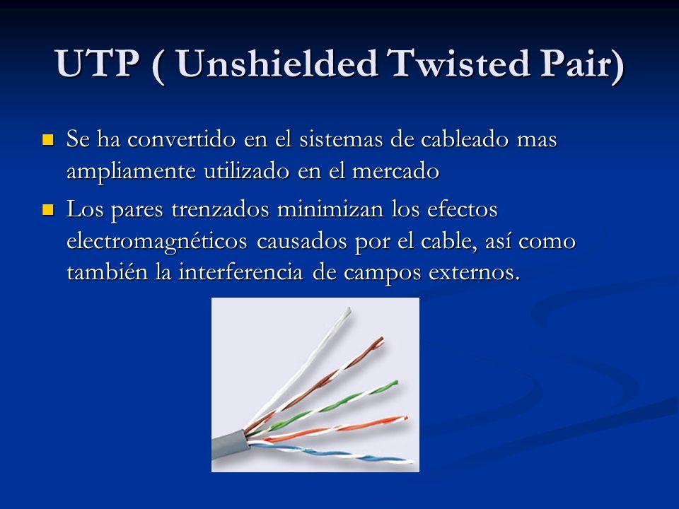 UTP ( Unshielded Twisted Pair) Se ha convertido en el sistemas de cableado mas ampliamente utilizado en el mercado Se ha convertido en el sistemas de