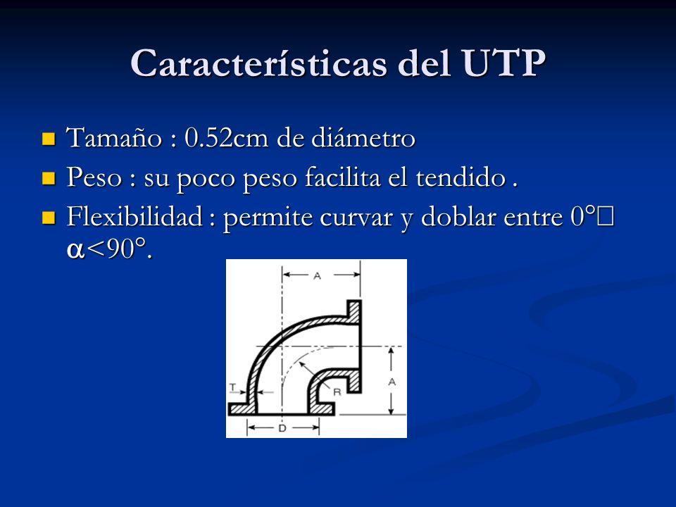 Características del UTP Tamaño : 0.52cm de diámetro Tamaño : 0.52cm de diámetro Peso : su poco peso facilita el tendido. Peso : su poco peso facilita