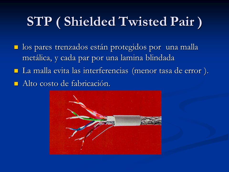 STP ( Shielded Twisted Pair ) los pares trenzados están protegidos por una malla metálica, y cada par por una lamina blindada los pares trenzados está