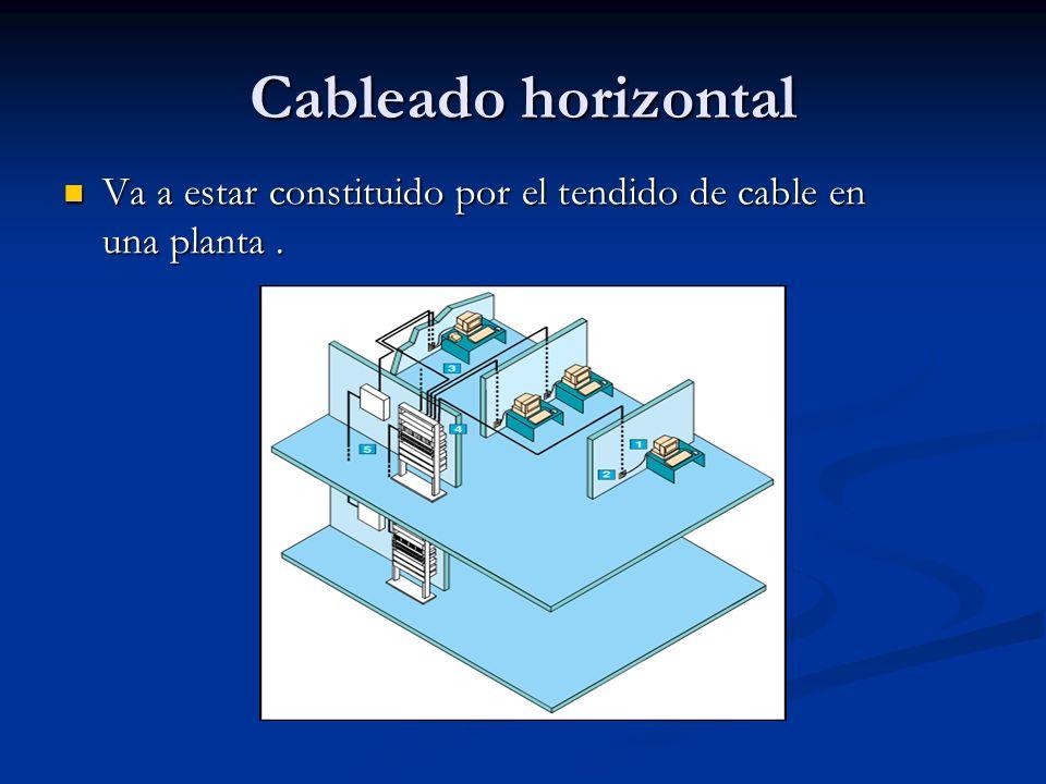Cableado Horizontal Del Face Plate entra al Cuarto de Telecomunicaciones, donde un Patch Cord se conectara del Face Plate al Patch Panel Del Face Plate entra al Cuarto de Telecomunicaciones, donde un Patch Cord se conectara del Face Plate al Patch Panel Se utilizará cable UTP de 4 pares trenzados, 100 ohmios que obedezca a la norma TIA/ EIA-568 B.2 Se utilizará cable UTP de 4 pares trenzados, 100 ohmios que obedezca a la norma TIA/ EIA-568 B.2 Mínimo 2 salidas por cada AT (AREA DE TRABAJO).