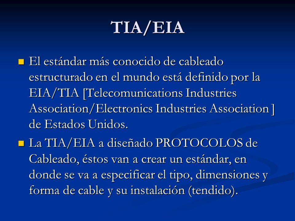TIA/EIA El estándar más conocido de cableado estructurado en el mundo está definido por la EIA/TIA [Telecomunications Industries Association/Electroni