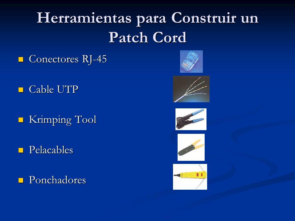 Herramientas para Construir un Patch Cord Conectores RJ-45 Conectores RJ-45 Cable UTP Cable UTP Krimping Tool Krimping Tool Pelacables Pelacables Ponc