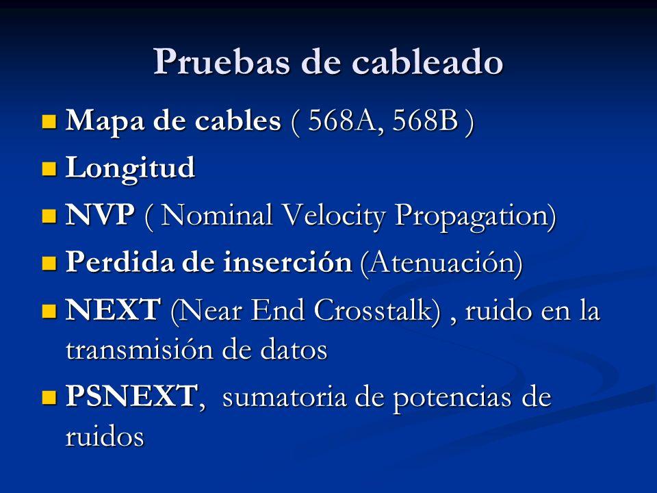 Pruebas de cableado ELFEXT, ruido en la recepción ELFEXT, ruido en la recepción PSELFEXT, sumatoria de ruidos en la recepción PSELFEXT, sumatoria de ruidos en la recepción Perdida de Retorno, mide la información de retorno o perdida Perdida de Retorno, mide la información de retorno o perdida