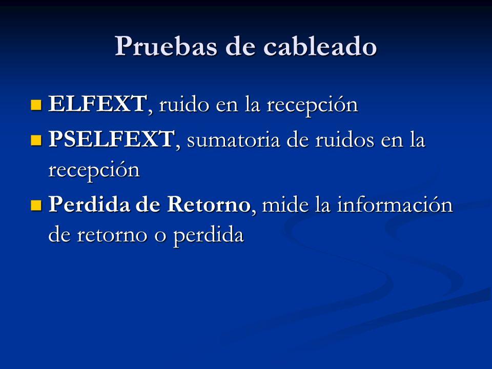 Pruebas de cableado ELFEXT, ruido en la recepción ELFEXT, ruido en la recepción PSELFEXT, sumatoria de ruidos en la recepción PSELFEXT, sumatoria de r