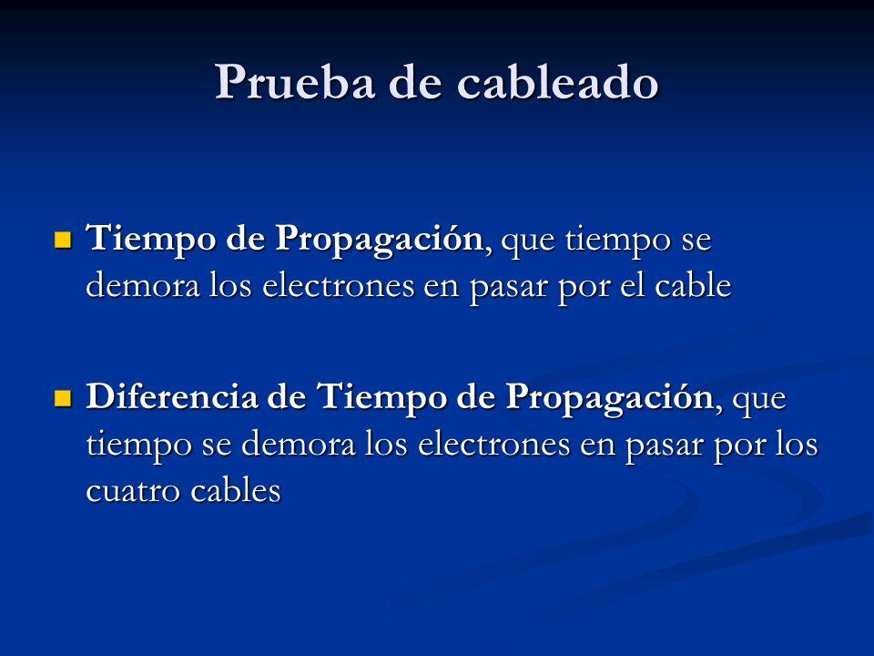 Prueba de cableado Tiempo de Propagación, que tiempo se demora los electrones en pasar por el cable Tiempo de Propagación, que tiempo se demora los el