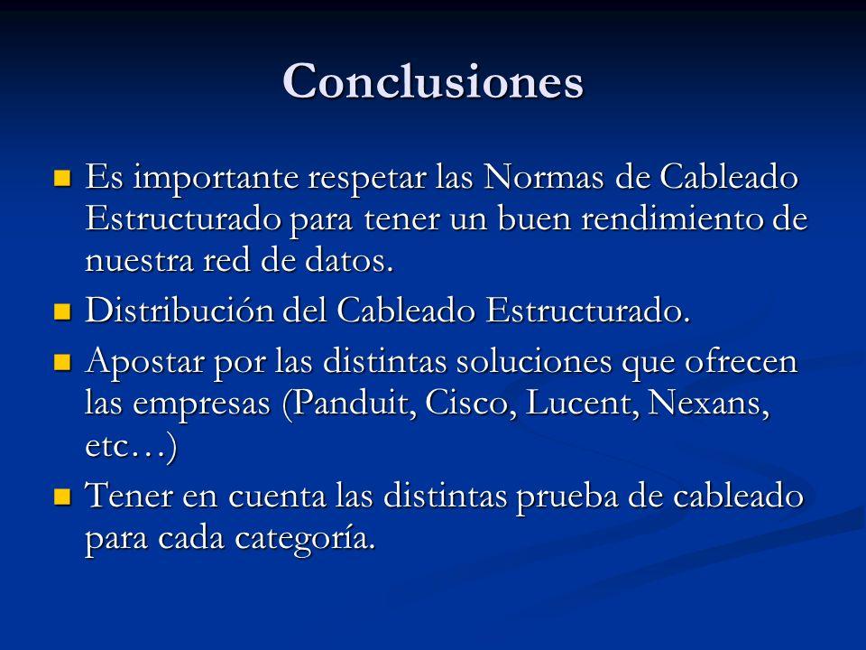 Conclusiones Es importante respetar las Normas de Cableado Estructurado para tener un buen rendimiento de nuestra red de datos. Es importante respetar