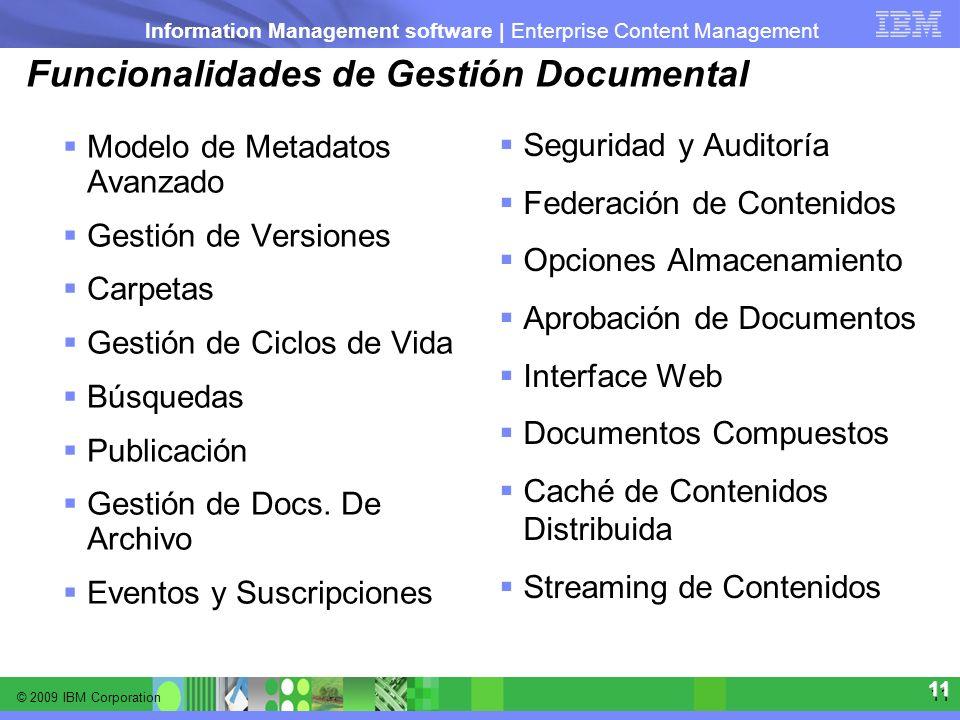© 2009 IBM Corporation Information Management software | Enterprise Content Management 11 11 Funcionalidades de Gestión Documental Modelo de Metadatos