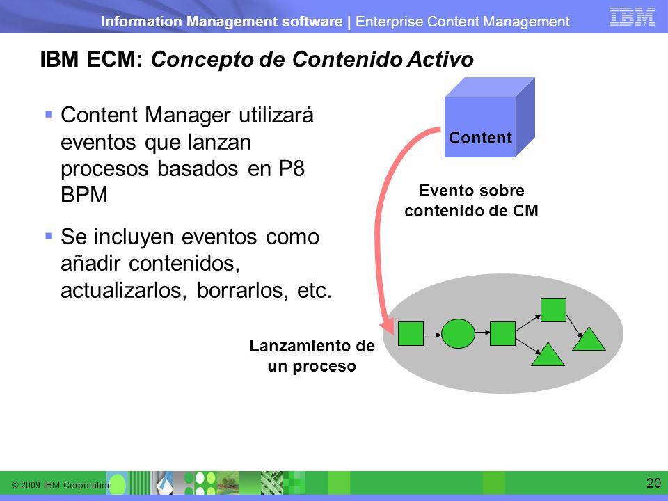 © 2009 IBM Corporation Information Management software | Enterprise Content Management 20 IBM ECM: Concepto de Contenido Activo Content Manager utiliz