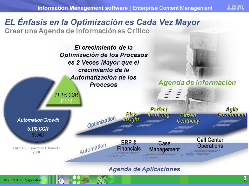 © 2009 IBM Corporation Information Management software | Enterprise Content Management 3 3 EL Énfasis en la Optimización es Cada Vez Mayor Crear una A