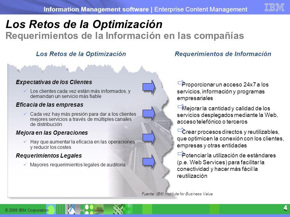 © 2009 IBM Corporation Information Management software | Enterprise Content Management 4 4 Los Retos de la Optimización Requerimientos de la Informaci