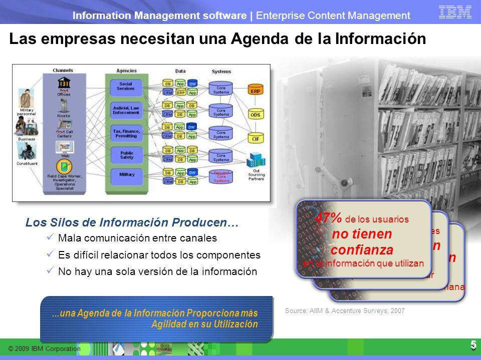 © 2009 IBM Corporation Information Management software | Enterprise Content Management 5 5 Las empresas necesitan una Agenda de la Información Los Sil