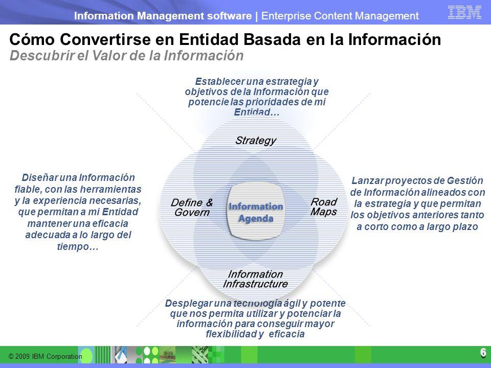 © 2009 IBM Corporation Information Management software | Enterprise Content Management 6 6 Lanzar proyectos de Gestión de Información alineados con la
