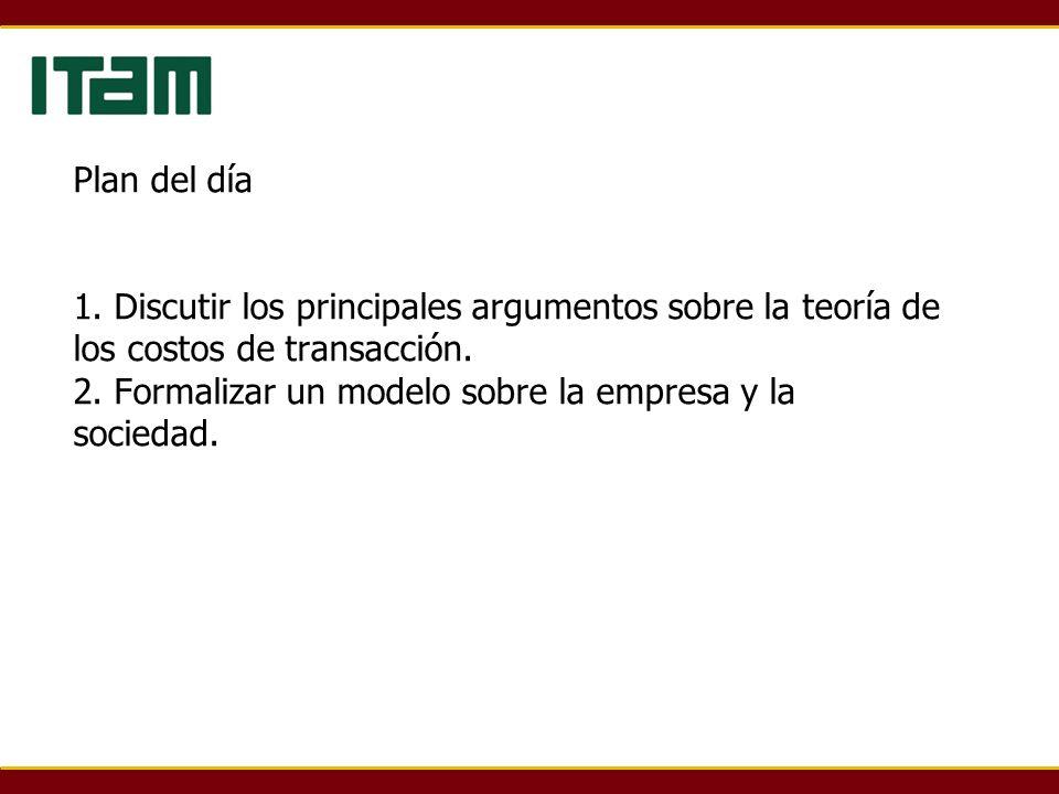 Plan del día 1. Discutir los principales argumentos sobre la teoría de los costos de transacción. 2. Formalizar un modelo sobre la empresa y la socied