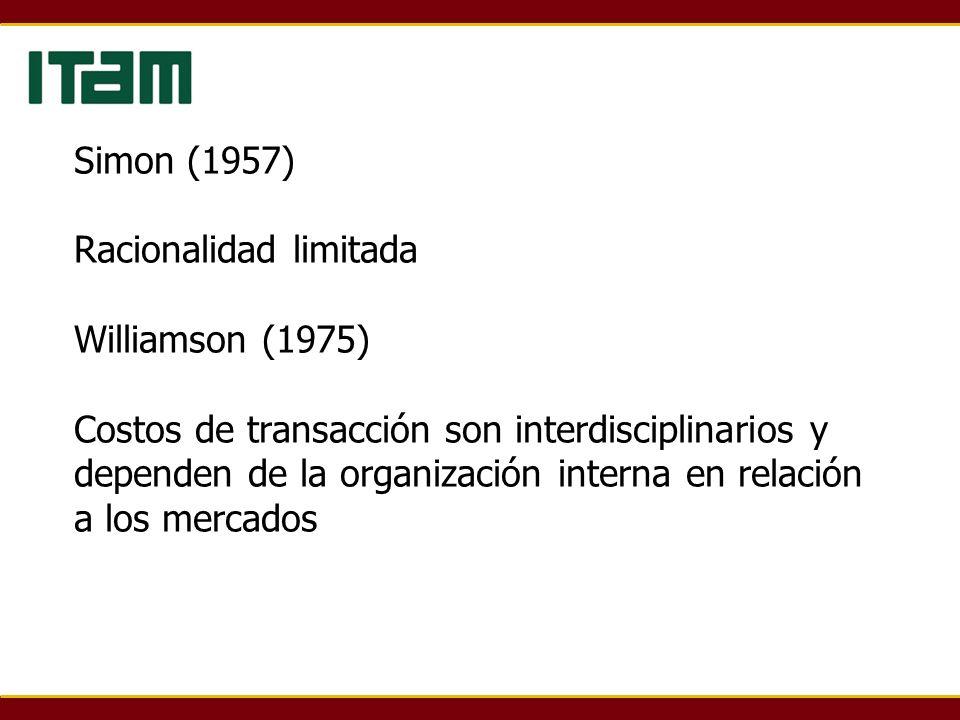 Simon (1957) Racionalidad limitada Williamson (1975) Costos de transacción son interdisciplinarios y dependen de la organización interna en relación a