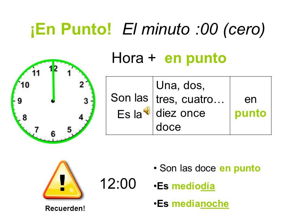 Los Minutos 15 y 30 Hora + y cuarto Es la Son las una, dos, tres, cuatro, cinco… diez, once, doce y cuarto 1/4 1/2 Hora + y media Es la Son las una, d