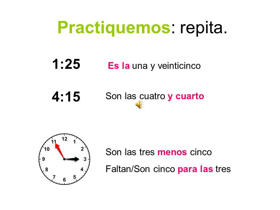 ¡En Punto! El minuto :00 (cero) Son las Es la Una, dos, tres, cuatro… diez once doce en punto Hora + en punto 12:00 Son las doce en punto Es mediodía