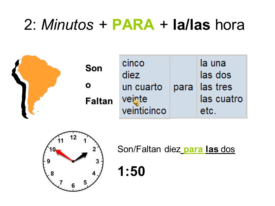 2: Minutos + PARA + la/las hora SonoFaltan