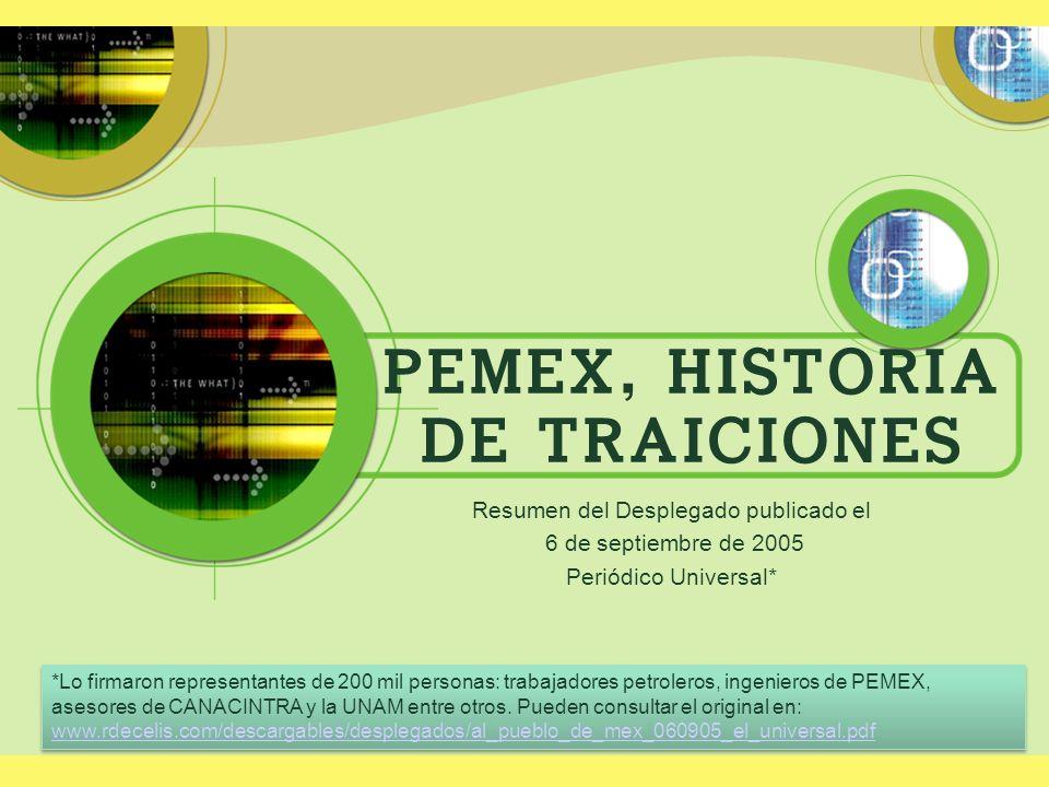 PEMEX, HISTORIA DE TRAICIONES Resumen del Desplegado publicado el 6 de septiembre de 2005 Periódico Universal* *Lo firmaron representantes de 200 mil