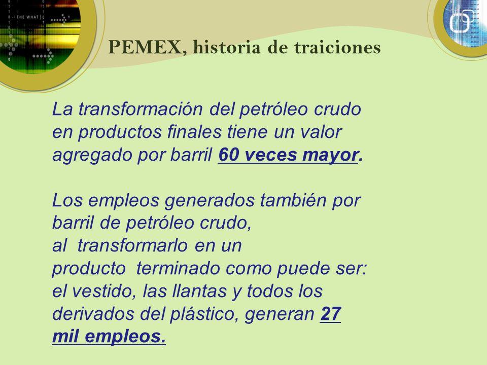 PEMEX, historia de traiciones La transformación del petróleo crudo en productos finales tiene un valor agregado por barril 60 veces mayor. Los empleos