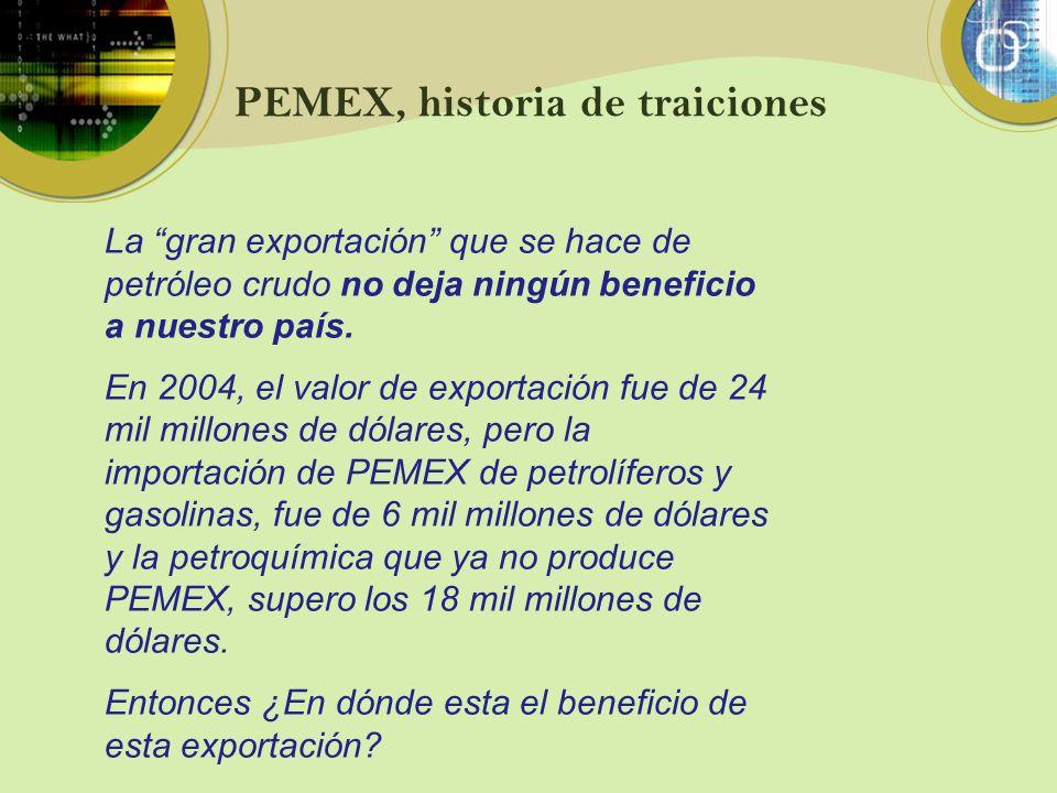 PEMEX, historia de traiciones La gran exportación que se hace de petróleo crudo no deja ningún beneficio a nuestro país. En 2004, el valor de exportac