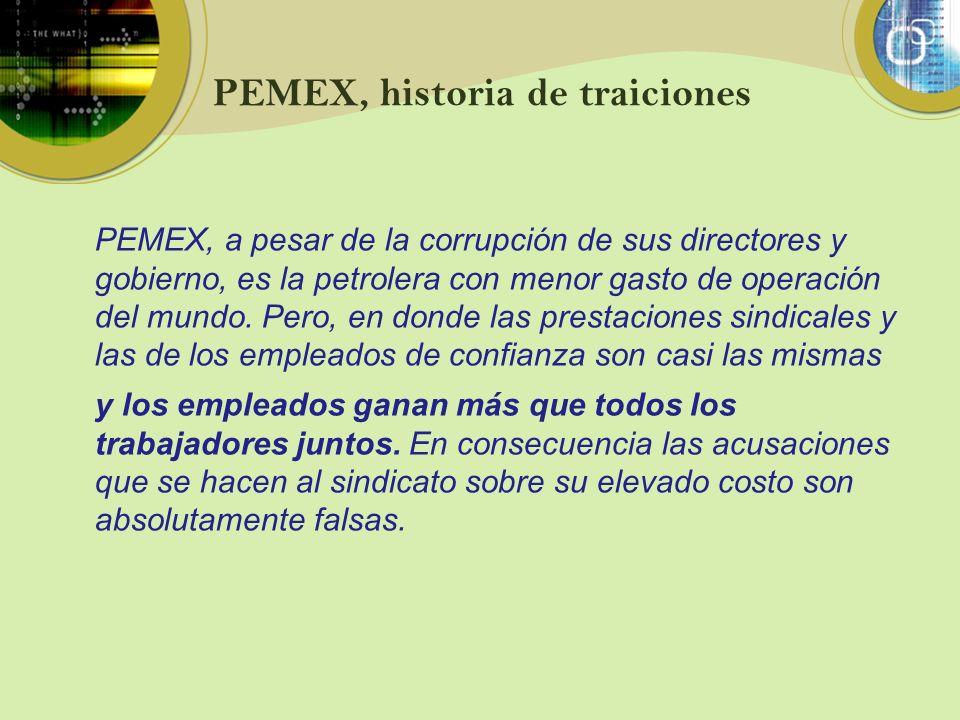 PEMEX, historia de traiciones y los empleados ganan más que todos los trabajadores juntos. En consecuencia las acusaciones que se hacen al sindicato s