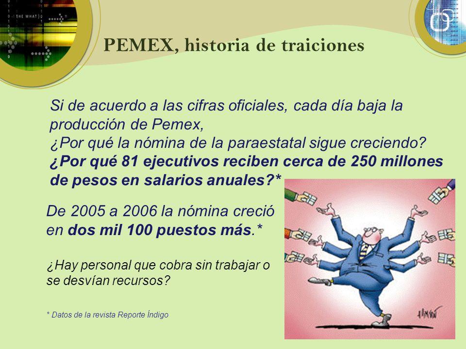 PEMEX, historia de traiciones Si de acuerdo a las cifras oficiales, cada día baja la producción de Pemex, ¿Por qué la nómina de la paraestatal sigue c