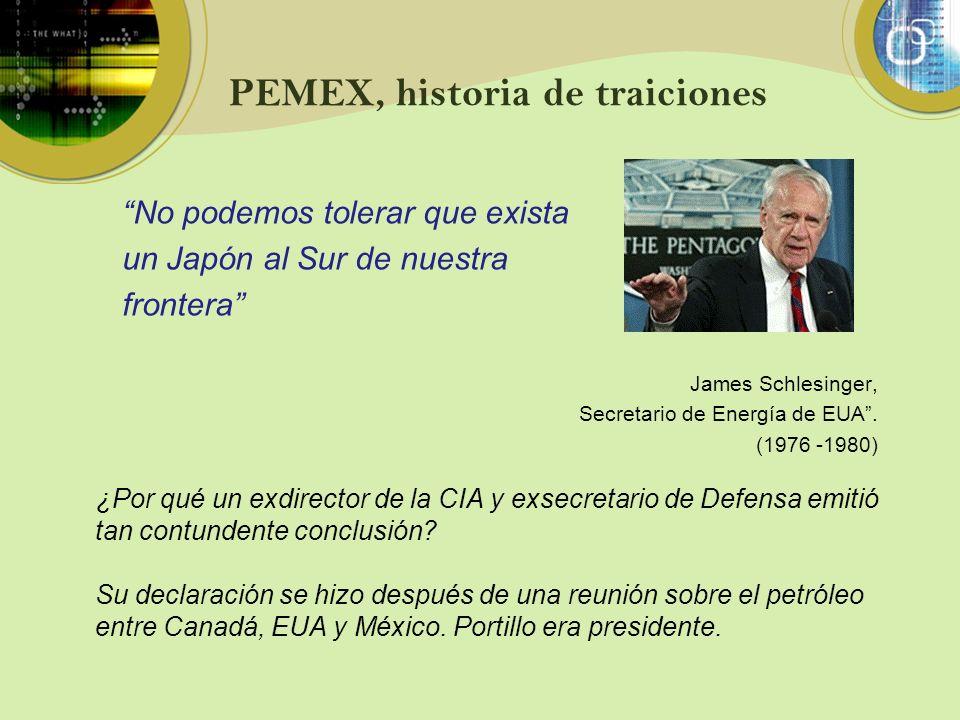 PEMEX, historia de traiciones No podemos tolerar que exista un Japón al Sur de nuestra frontera James Schlesinger, Secretario de Energía de EUA. (1976