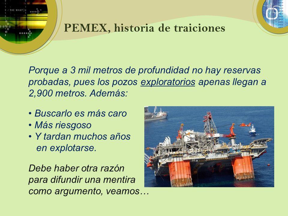PEMEX, historia de traiciones Porque a 3 mil metros de profundidad no hay reservas probadas, pues los pozos exploratorios apenas llegan a 2,900 metros