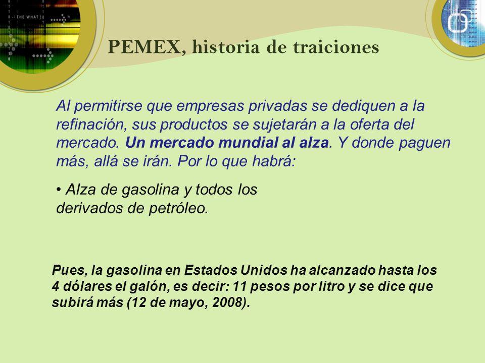 PEMEX, historia de traiciones Pues, la gasolina en Estados Unidos ha alcanzado hasta los 4 dólares el galón, es decir: 11 pesos por litro y se dice qu