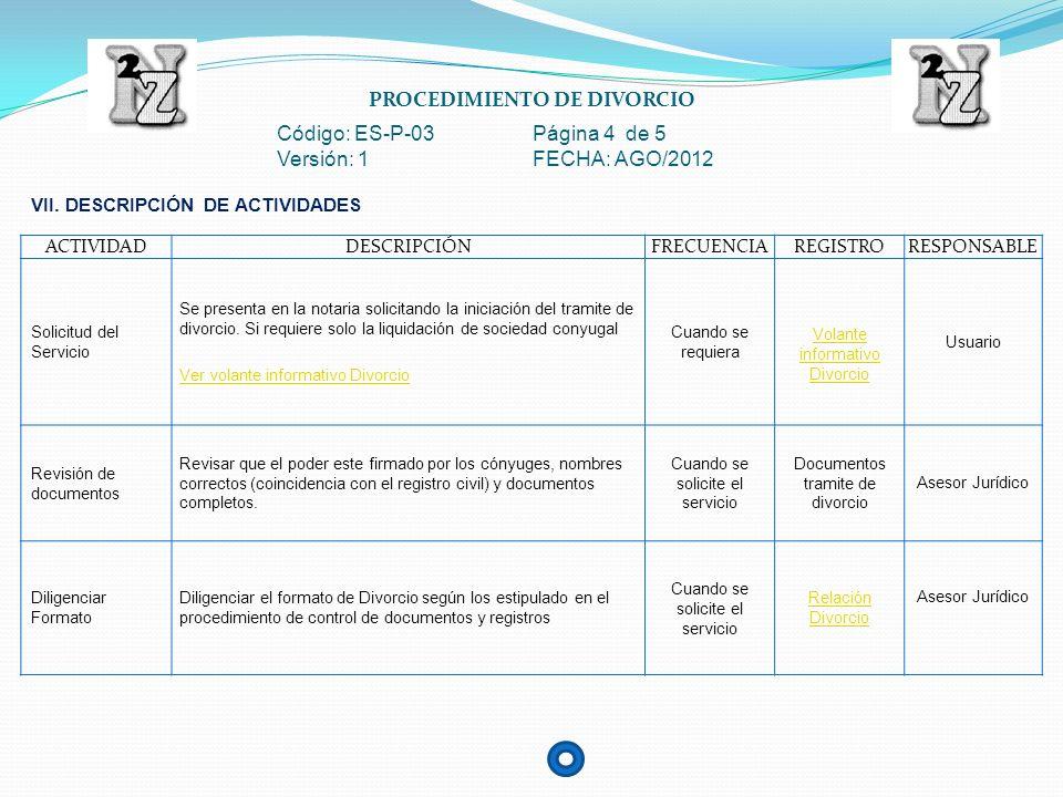 PROCEDIMIENTO DE DIVORCIO Código: ES-P-03 Página 5 de 5 Versión: 1 FECHA: AGO/2012 ACTIVIDADDESCRIPCIÓNFRECUENCIAREGISTRORESPONSABLE Autorización Notario Notario debe autorizar el tramite de divorcio, firmando en caso de aprobación.