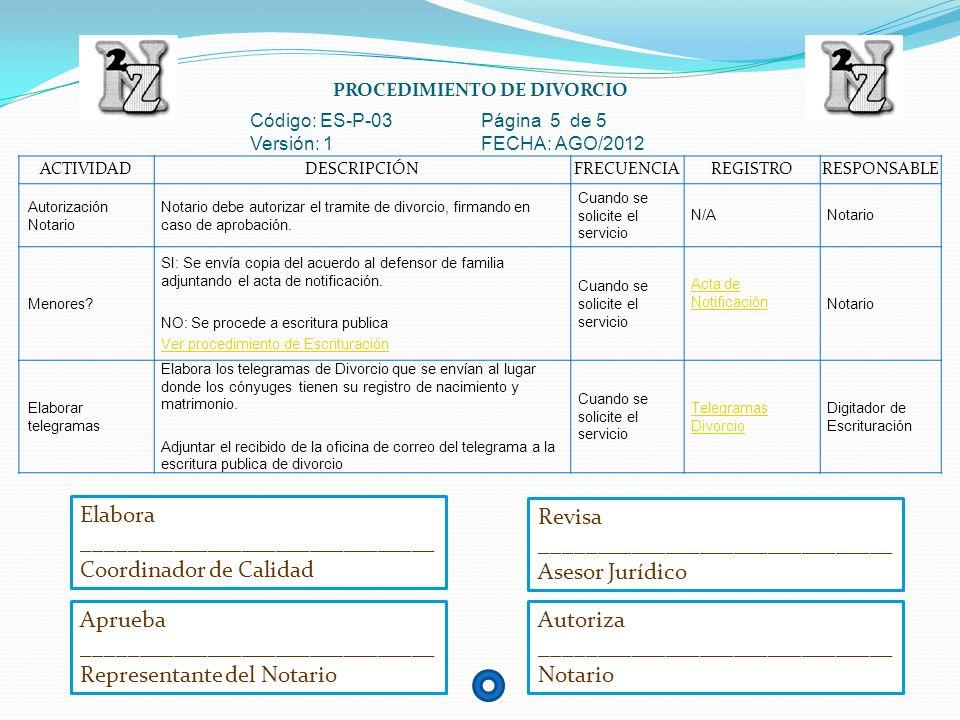 PROCEDIMIENTO DE DIVORCIO Código: ES-P-03 Página 5 de 5 Versión: 1 FECHA: AGO/2012 ACTIVIDADDESCRIPCIÓNFRECUENCIAREGISTRORESPONSABLE Autorización Nota