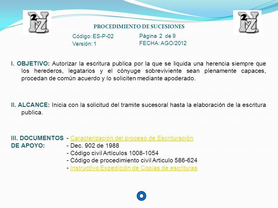 PROCEDIMIENTO DE SUCESIONES Código: ES-P-02 Página 3 de 9 Versión: 1 FECHA: AGO/2012 IV.