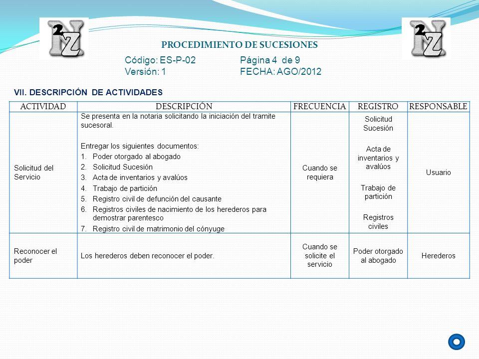 PROCEDIMIENTO DE SUCESIONES Código: ES-P-02 Página 4 de 9 Versión: 1 FECHA: AGO/2012 ACTIVIDADDESCRIPCIÓNFRECUENCIAREGISTRORESPONSABLE Solicitud del S