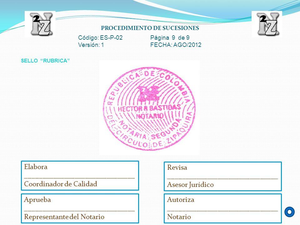 PROCEDIMIENTO DE SUCESIONES Código: ES-P-02 Página 9 de 9 Versión: 1 FECHA: AGO/2012 SELLO RUBRICA Aprueba _______________________________ Representan