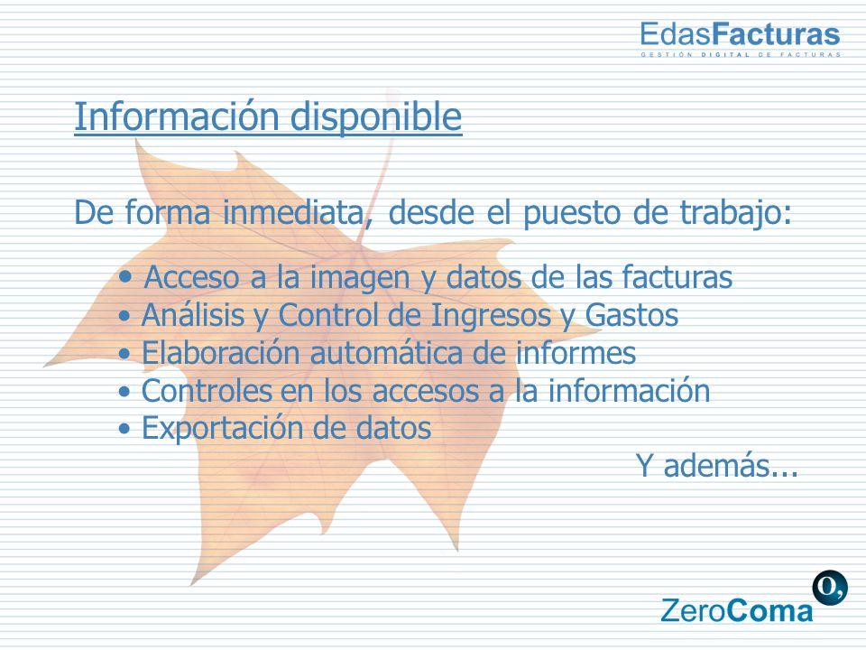 Información disponible De forma inmediata, desde el puesto de trabajo: Acceso a la imagen y datos de las facturas Análisis y Control de Ingresos y Gastos Elaboración automática de informes Controles en los accesos a la información Exportación de datos Y además...