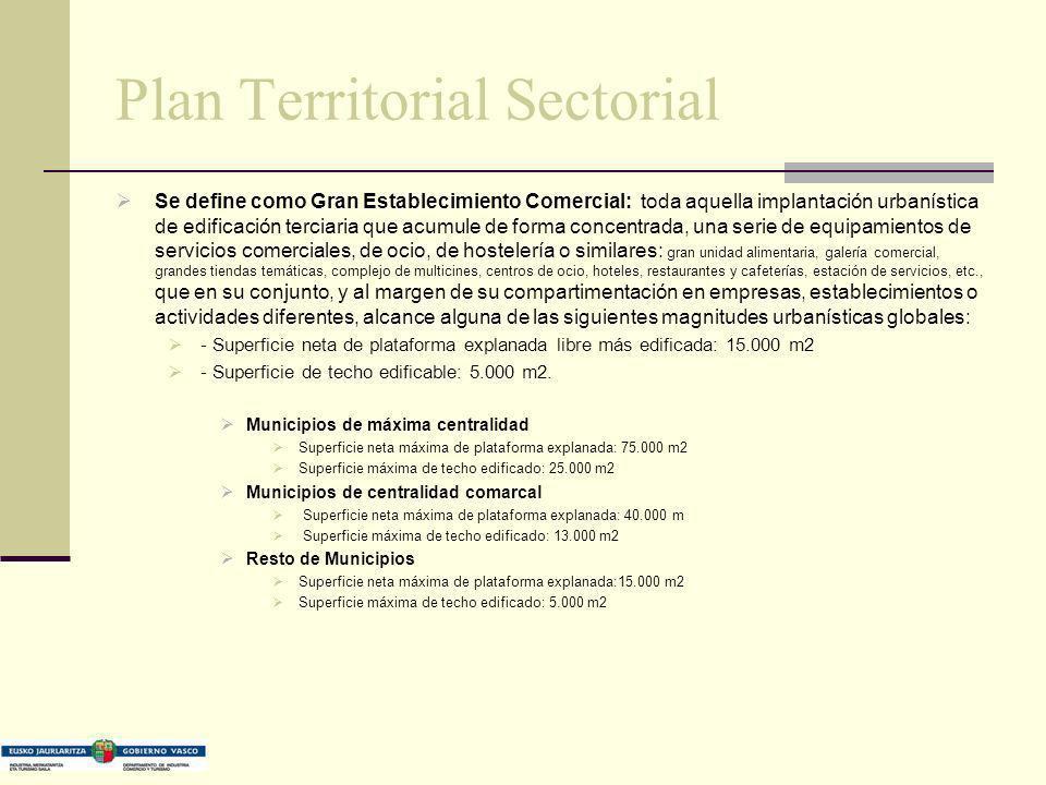 Plan Territorial Sectorial Se define como Gran Establecimiento Comercial: toda aquella implantación urbanística de edificación terciaria que acumule d