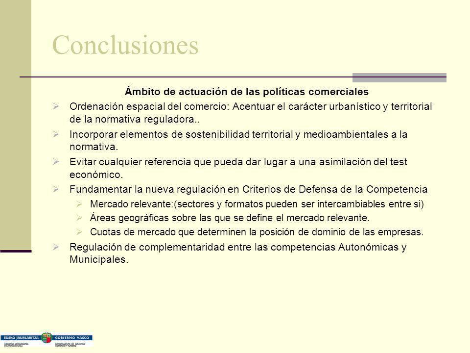 Conclusiones Ámbito de actuación de las políticas comerciales Ordenación espacial del comercio: Acentuar el carácter urbanístico y territorial de la n