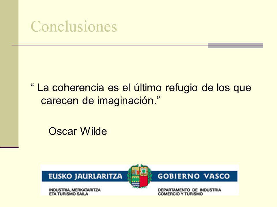Conclusiones La coherencia es el último refugio de los que carecen de imaginación. Oscar Wilde