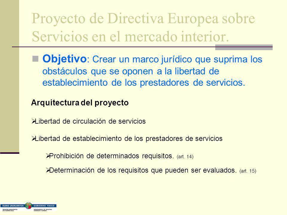 Proyecto de Directiva Europea sobre Servicios en el mercado interior. Objetivo : Crear un marco jurídico que suprima los obstáculos que se oponen a la