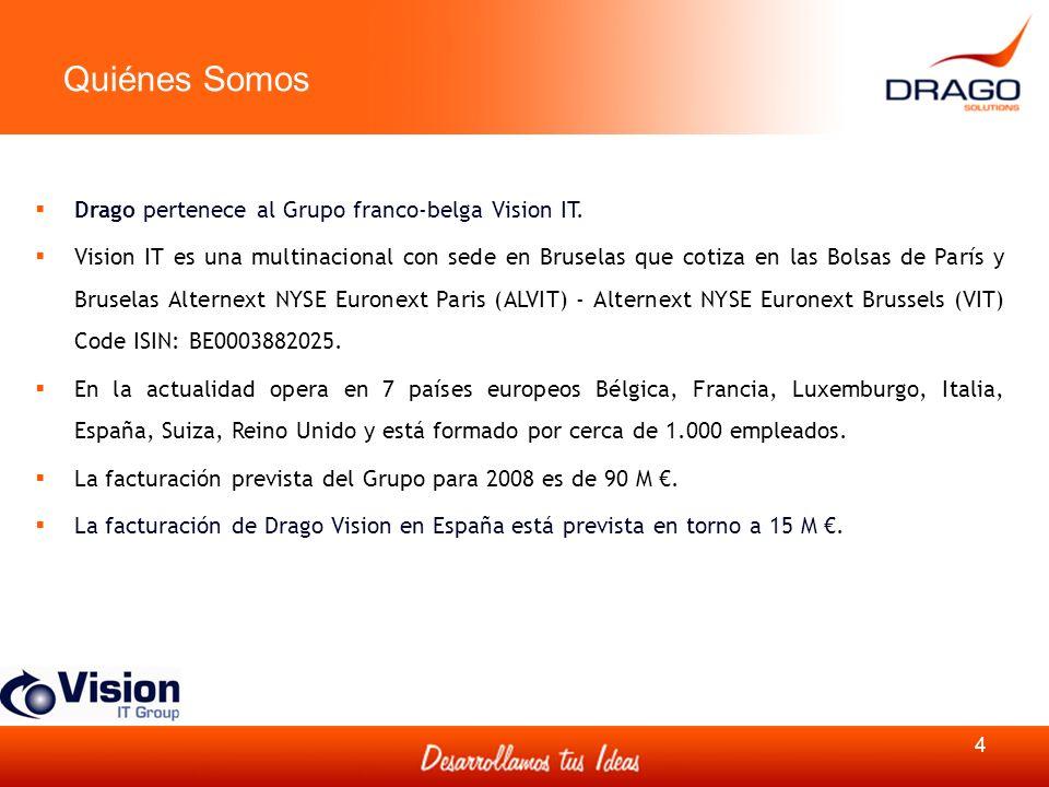 Quiénes Somos 4 Drago pertenece al Grupo franco-belga Vision IT. Vision IT es una multinacional con sede en Bruselas que cotiza en las Bolsas de París