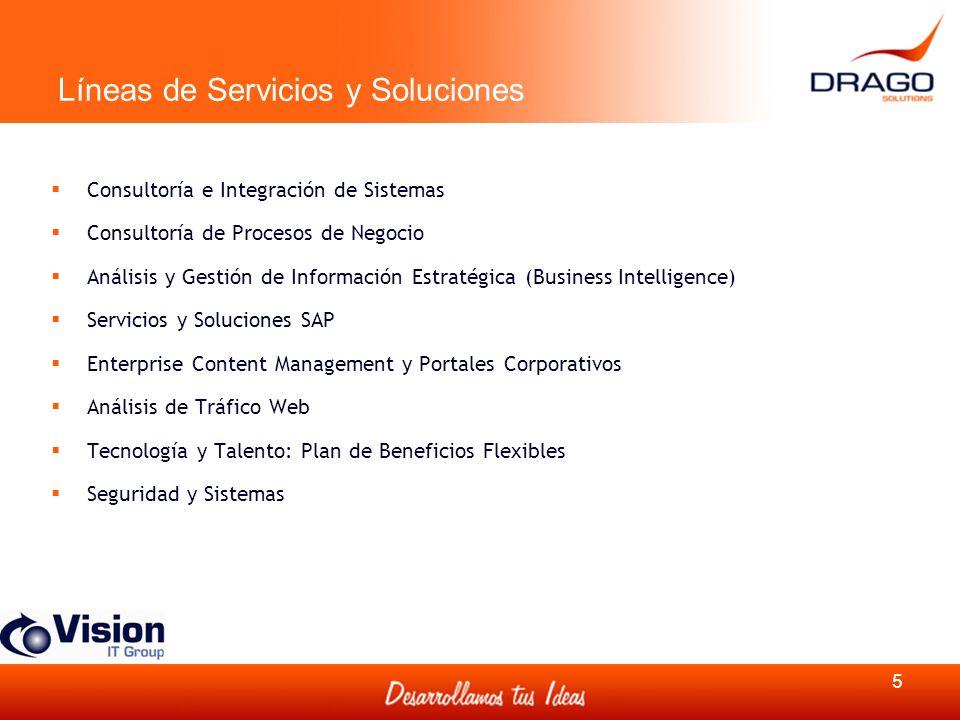 Líneas de Servicios y Soluciones Consultoría e Integración de Sistemas Consultoría de Procesos de Negocio Análisis y Gestión de Información Estratégic