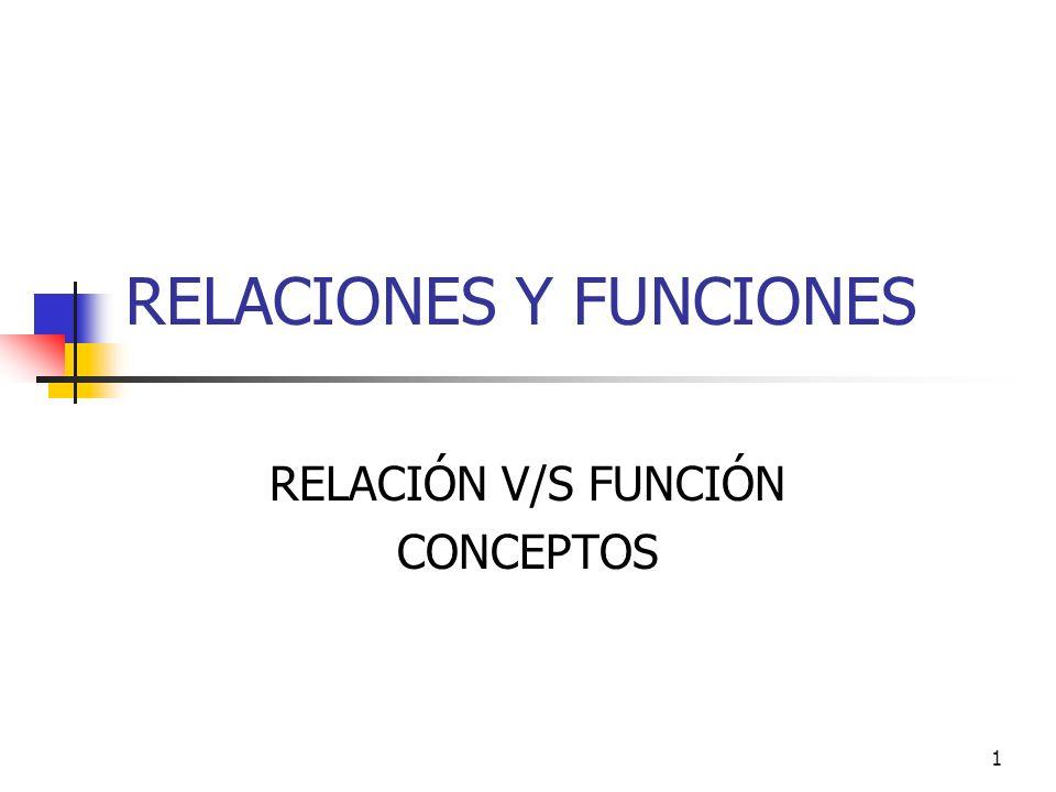 1 RELACIONES Y FUNCIONES RELACIÓN V/S FUNCIÓN CONCEPTOS